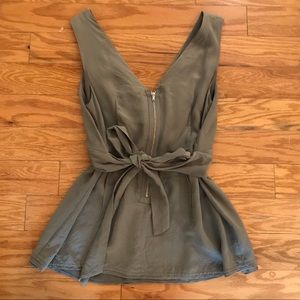 BCBG 100% gray silk top